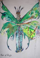 stilt walker faery costume design for walkabout entertainment